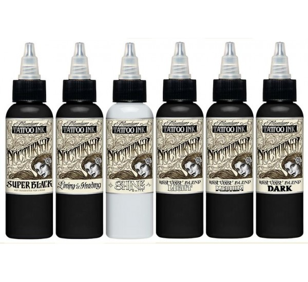 Nocturnal Tattoo Ink volledige Set  6 x 30 ml